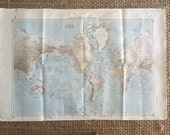 RESERVED: 1966 WORLD Large Vintage Nautical Map, 2 sided