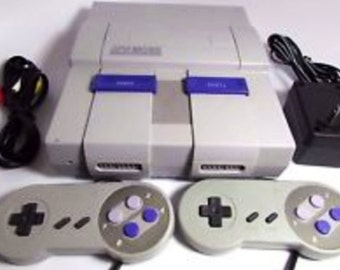 Vintage Super Nintendo Entertainment System Super Nes Complete Game System With Two Controllers