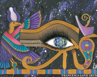 The Cosmic Eye Of Horus - Divine Goddess Art Print - Sizes A4 and A5