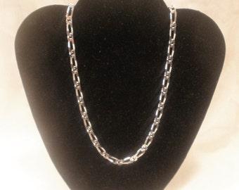 """Vintage """"MONET"""" Necklace Matinee Length 24"""" 1n Polished Link Design Silver"""