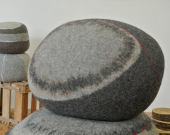 """felted floor cushion LITTLE FRED - 20""""x12,5"""" inches, made in Germany - ottoman - samesch pebble"""