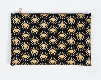 EYE | Screenprint Clutch Metallic Golden Eyes Pattern