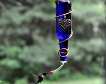 """Valentine's Day - Glass Bottle Hummingbird Feeder ~ """"The Sweet Shoppe"""" - with a ball bearing feeder tube!"""