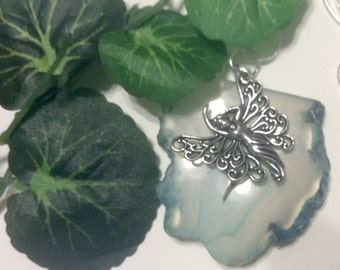 Green Agate Butterflygirl Charm Necklace STEARLING Silver 26 Inch Chain Jewelry an Excellent  Necklace