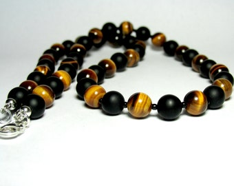 Mens Tiger Eye and Onyx Beaded Necklace, Matte Onyx Necklace, Tiger Eye Necklace, Gemstone Necklace, Jewelry for Men, Gift for Him