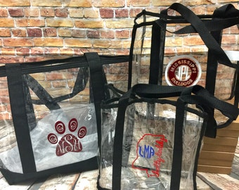 Monogrammed Clear Stadium Totes - SEC | College | NFL| Game Day Tote| Football Game | Clear Tote | Clear Purse