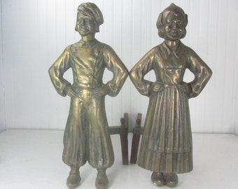 Antique Dutch Boy and Girl Andirons, Brass Andirons,fireplace tools, wood rack,Iron Firedogs, Cast Iron Andirons