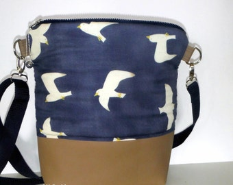 Shoulder bag Shoulderbag cotton leatherette taupe blue 34 x 3 x 11 cm