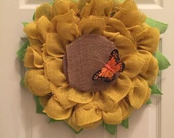 Burlap Sunflower Wreath