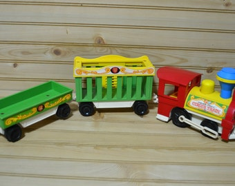 Vintage Fisher Price Circus Train Flat Car Lion Car Engine 1970s