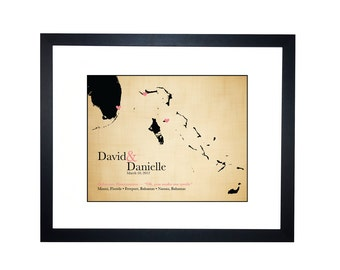 Wedding Honeymoon Anniversary Gift, Caribbean Cruise Map, Honeymoon Map, Caribbean Travel Map, Second Anniversary Gift, Cotton map print