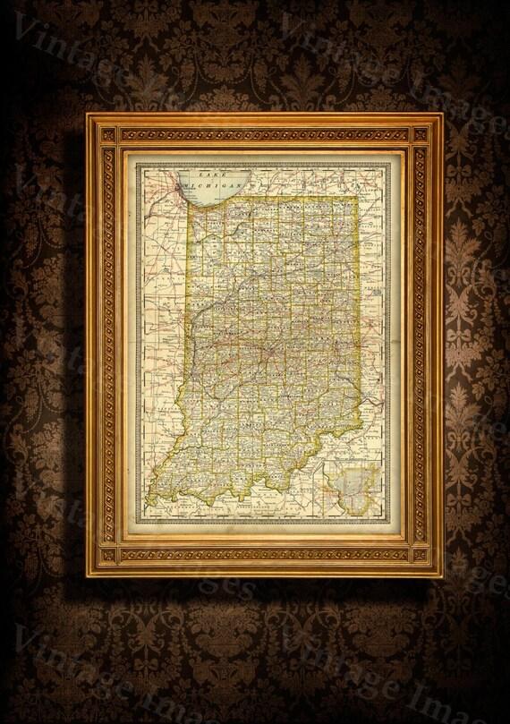 Old Map Of Indiana Indiana Map Large Indiana Map - Restoration hardware paris map
