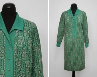 1970s Green Geometric Pattern Shirt Dress