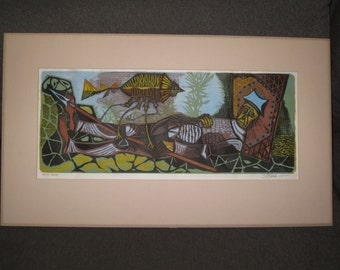 1970's Multi Color Woodcut Print Signed Ilgvars Steins, Artist Proof,