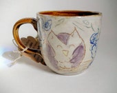 Owl Pottery Mug, White, Purple, Amber Brown Ceramic Coffee Cup, 7 oz Handmade Rustic Forest Buddy Tea Cup, Woodland Espresso Cup
