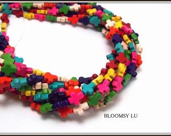 1 Full Strand Beads, Small Cross Beads, Tiny Howlite Turquoise Cross Charms, bulk beads, Christian cross, bible school supplies, Jewelry