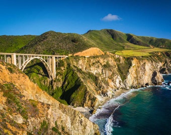 Bixby Creek Bridge, in Big Sur, California. | Photo Print, Stretched Canvas, or Metal Print.