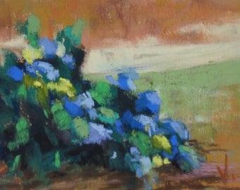 Blue Hydrangea - ACEO - PASTEL - 2 1/2 x 3 1/2