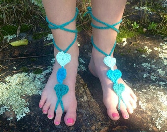 Crochet Hearts Barefoot Sandals (any size)
