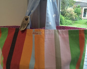 Market tote/beach bag in deck chair stripe Ikea fabric