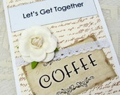 Let's Get Together Card - Coffee Card - Vintage Style Card - Vintage Style Invitation - Blank Card - Special Occasion Invite - Friends Card
