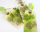 Botanical Gift Tags - Woodland Theme Tags - Set of Four Tags - Leaf Tags - Watercolor Tags - Rustic Gift Tag Set - Green and Brown Tags