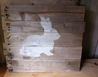 Rustic wall decor on weaybered barn wood bunny rabbit
