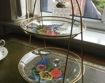 Handpainted Glass Cake Stand