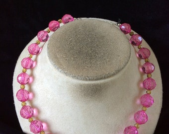 Vintage Pink & Yello Beaded Necklace