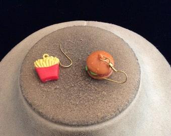 Vintage Hamburger & Fries Pierced Dangle Earrings