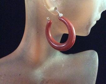 Vintage Brown Hoop Pierced Earrings