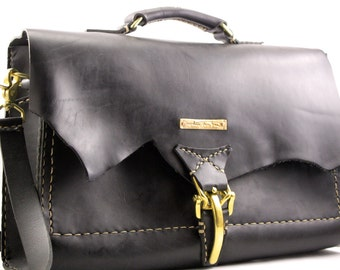 leather briefcase. black briefcase. leather messenger bag. man bag. computer bag. steer hide. Horween leather. under the tree. FREE SHIPPING