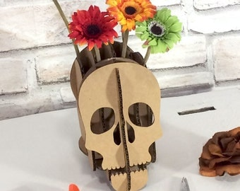 Cardboard Skull, Eco friendly, Geekery, smart phone holder, desk accessory, table accessory, iphone holder, Halloween gift, for teens, him