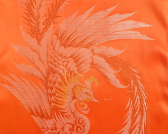 Peacock Persimmon Vintage Japanese Kimono Fabric - BX04