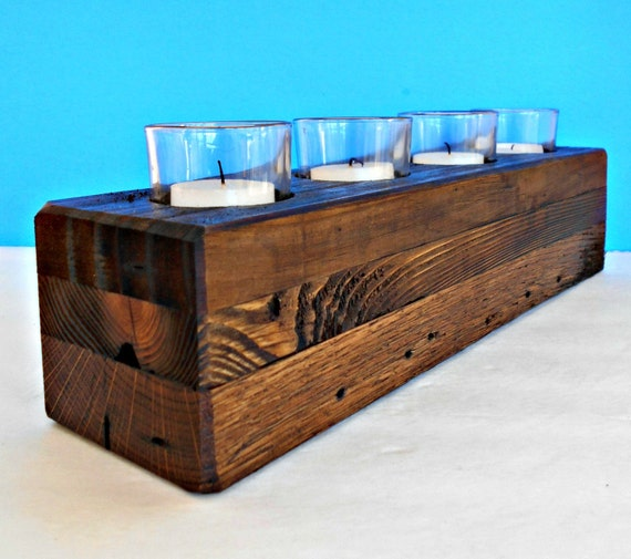 Wood candle holder for votive candles rustic