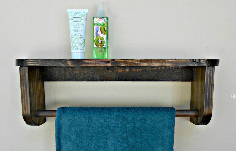 bathtowel rack with shelf wood towel holder by robsrusticcreations. Black Bedroom Furniture Sets. Home Design Ideas