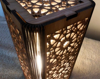 Zellij Design Lamp - Moroccan Motif Laser Cut Accent Lamp
