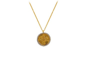 14K Solid Yellow Gold Ottoman Necklace OG095