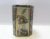 Vintage Made In Brazil Tin / Octagonal Meister Tin / Crane and Lily Design