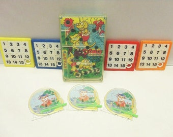 Eight Plastic Hand Held Games / Vintage Plastic Games / Pinball And Number Games