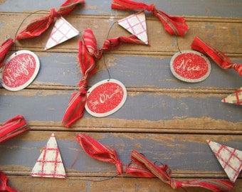 Naughty Or Nice -Christmas Garland - Tin Garland ~Primitive Garland - Rustic Christmas - Christmas Tree Garland - Holiday Decor
