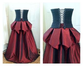 Bustle Train Victorian Steampunk Gothic Lolita Burlesque Overskirt Lace - Dark Red