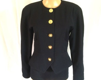 Escada by Margaretha Ley Black Suit Jacket Gold Buttons Sz. 34