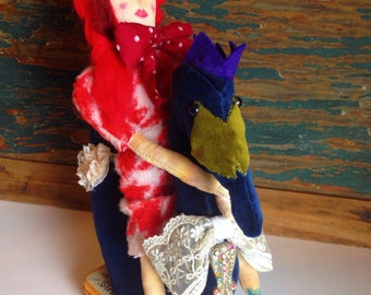 Doll on Swan Textile Sculpture, Individual, OOAK piece, Fairy Tale Inspired, Doll, Folk Art, Textile Art, Textile Sculpture, Swan, Animal