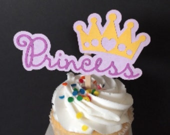 Princess with Crown Cupcake Topper