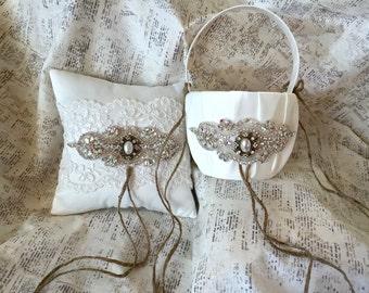 Ring Bearer Pillow, Lace Ring Bearer Pillow, Ring Cushion, Lace Wedding Pillow, Ivory Wedding Pillow, Crystal Ring Bearer Pillow