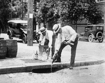 Prohibition Police, Pouring Liquor down drain, Bar Decor, Prohibition Era America Photo Print