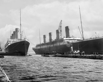 SS Olympic and Titanic, Ocean Liners, at Dock, Ireland: Photo Print