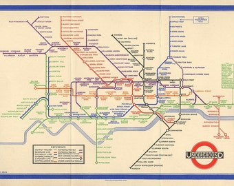 London Underground, Tube, Map from the 1930s Map Print