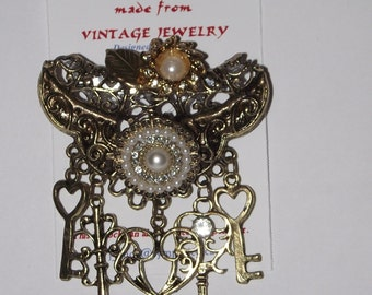 Keys Theme.  One-of-a-Kind collage brooch &/or pendant, made from recycled vintage jewelry.  Rhinestones, faux pearls, antique gold.  #83g.